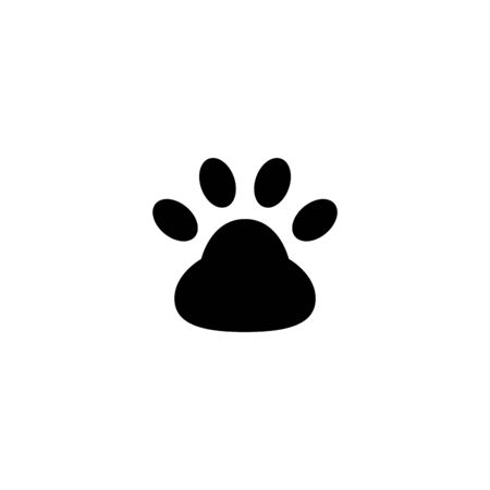 Outline style of paw print icon vector in black flat design on white background