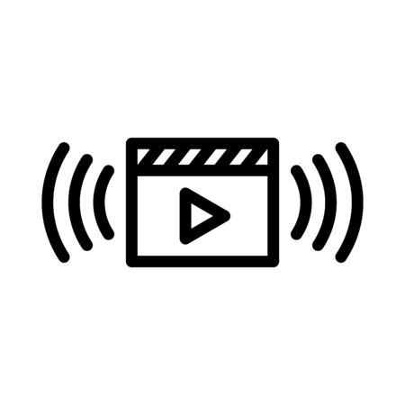 Video stream vector icon in outline style on white background Иллюстрация