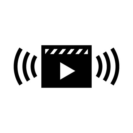Video stream vector icon in black flat design on white background
