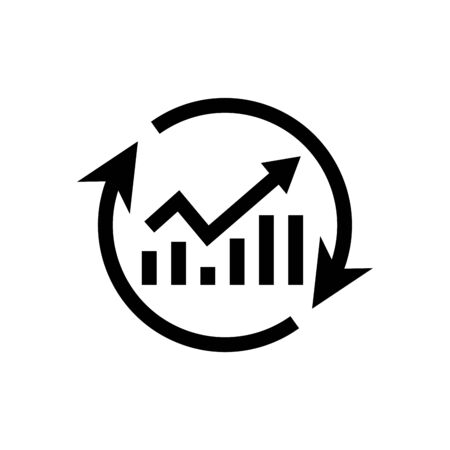 a growth chart with circular arrows in black flat design on white background, continuous improvement concept
