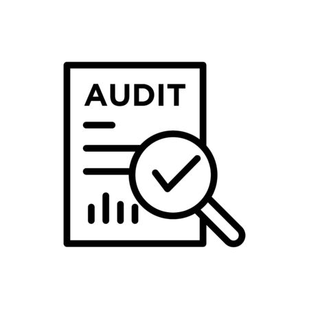 audit icon in outline style on white background, Document inspection icons such as quality, finance, production