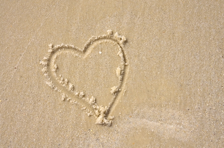 florida beach: Heart shaped into white Florida beach sands Stock Photo