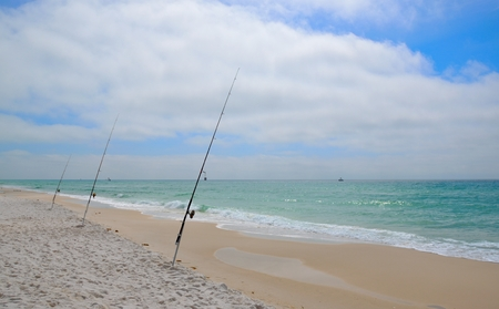 the gulf: Fishing on Florida Beaches - Gulf of Mexico Stock Photo