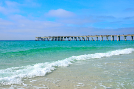 city: Pier stretching out over Gulf of Mexico waters at Panama City, FL, USA
