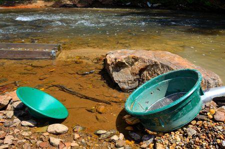 prospector: El lavado de oro con una caja de la esclusa, tamiz y pan