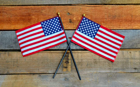 American Flags on pallet wood