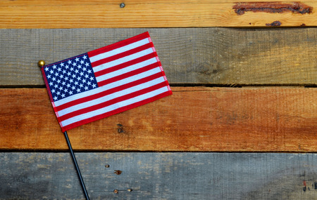 labor day background: American Flag on wooden pallet boards Stock Photo