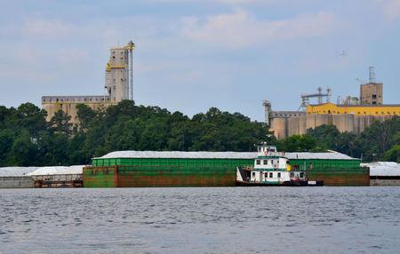 empujando: Empujando remolcador de barcazas