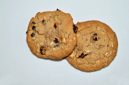 oatmeal: Two oatmeal raisin cookies
