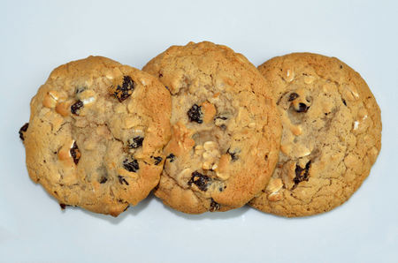 Three chewy oatmeal raisin cookies