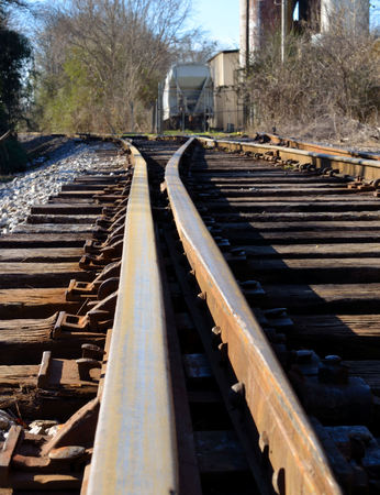 switching: Railroad tracks at switching junction Stock Photo