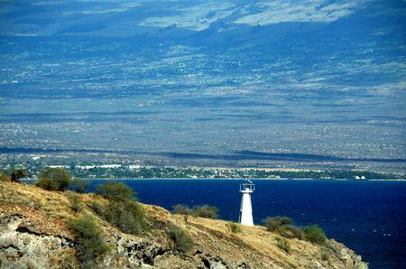 McGregor point light beacon, lighthouse, Maui, Hawaii. Kihea shoreline in the background.  Scenic tropical travel destination. Stock Photo