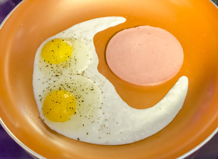 Two fried eggs and bologna.  Delicious high protein breakfast. Stock Photo