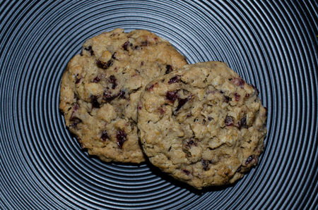 Two Oatmeal Cranberry Cookies displayed on interesting plate. Delicious rustic hearty treat. Standard-Bild - 95323081