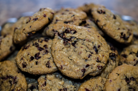Plate filled with fresh baked Oatmeal Cranberry Cookies.  Sweet hearty delicious snack or treat. Standard-Bild - 95441006