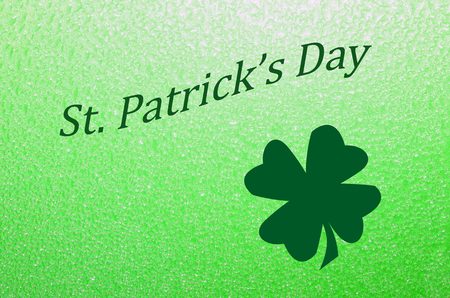 St. Patricks Day Greeting with shamrock. Celebrate Irish Holiday with this bright green greeting. Stock Photo