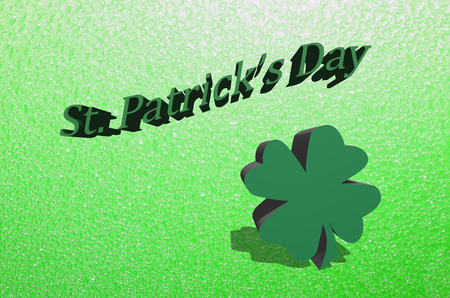 St. Patrick's Day greeting with shamrock, four leaf clover.  Traditional Irish holiday celebrated each spring. Standard-Bild - 95626808