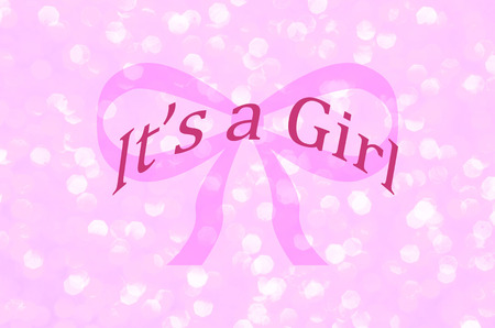 Its a girl announcement over pink ribbon with sparkle background.