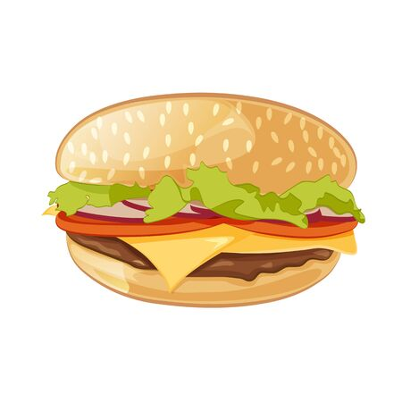 Vector Classic Burger American Hamburger Cheeseburger with Lettuce Onion Beef and Cheese Slice up Isolated on White Background. Fast food Иллюстрация