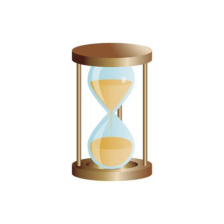 Hourglass vintage tool. Hourglass as a concept of travel time for timing, urgency and lack of time. Иллюстрация