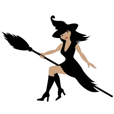 Beautiful glamorous witch flying on a broomstick Иллюстрация