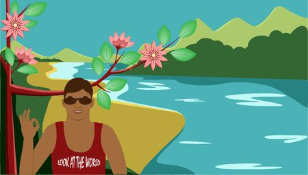 Tourist on the background of the sea and mountains, flat vector illustration. Tourism and travel concept