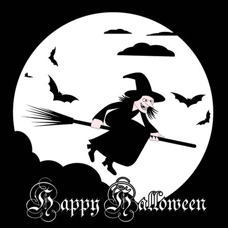 Halloween background. Witch flies on a broomstick against the background of the full moon.Vector illustration