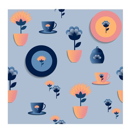 Multi-colored dishes, plates, cups, flower pots, pattern on a blue background