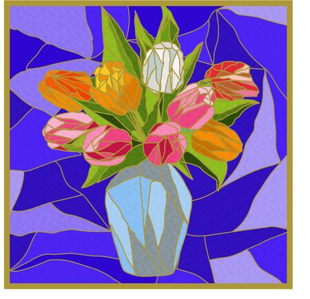 Stained glass window with flower still life, colorful bouquet of tulips in a vase on a blue background Иллюстрация