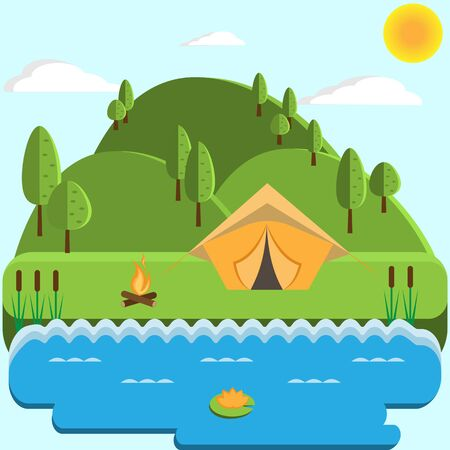 Forests, trees and hills on a green background. Tourist tent by the river. Vector illustration.