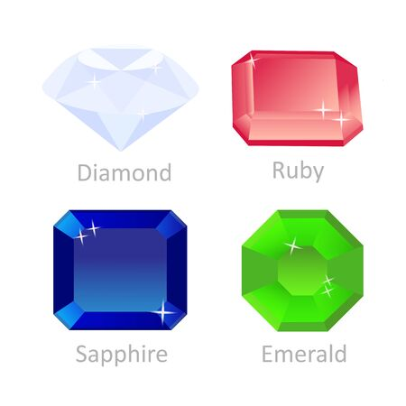 A set of gems. Brilliant, emerald, ruby, sapphire. Vector illustration. Çizim