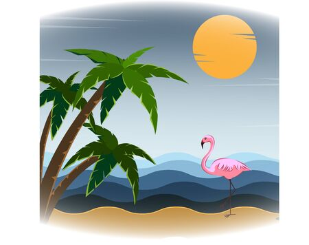 Tropical background on a sandy beach, sun, sparkling ocean, flamingos and palm trees, illustration