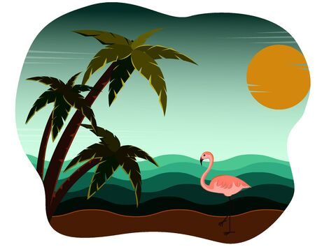 Illustration of beach and sea coast landscape at sunset with beautiful evening sky. Flamingo and palm trees. Creative summer banner. Summer theme background. Vector illustration