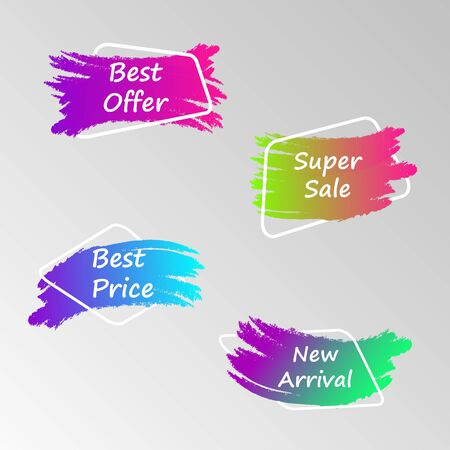 Set of flat vector geometric color banners. The concept of promotion. Vector illustration Иллюстрация