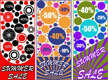 Summer Sale. Set of abstract modern graphic banners with dynamic color shapes. Template for design flyer, presentation or sale.