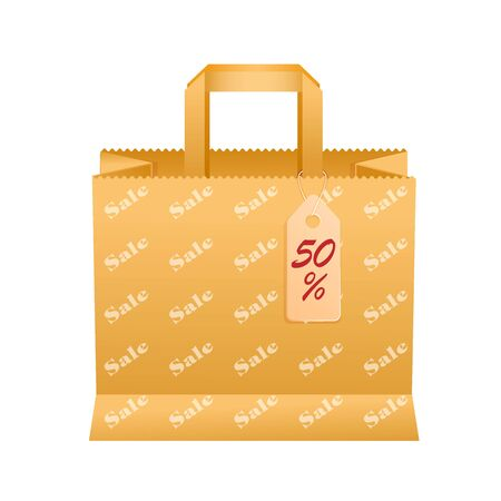 Vector illustration of a paper bag with handles and funky with a print of sales Иллюстрация