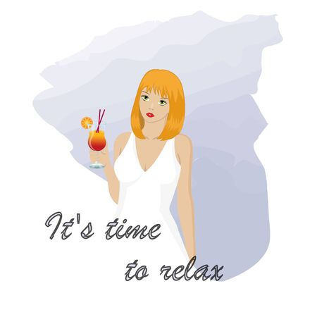 The girl relaxes with a cocktail in her hand. Typographic slogan. Illustration.