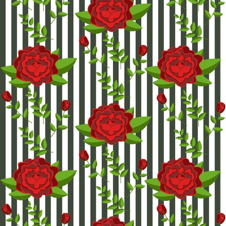 Seamless pattern, red roses, striped background