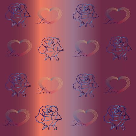 Pattern. Mother of pearl background with roses and hearts