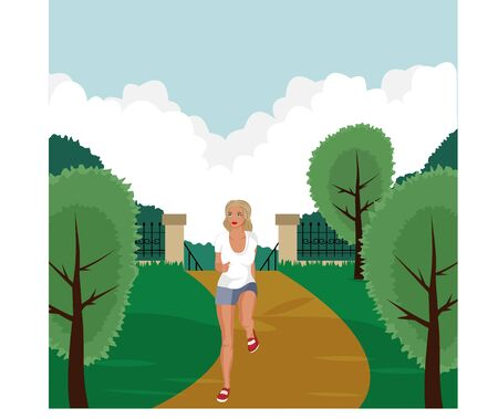 Athletic girl running in the park. Park, trees and hills on a green background. Banner, website, poster template. Vector illustration