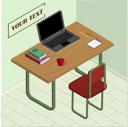 Illustration of office workplace. Vector illustration of isolated objects
