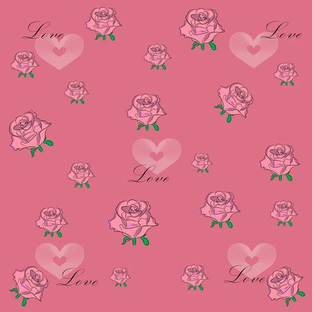 Pattern of roses and hearts on a pink background Иллюстрация