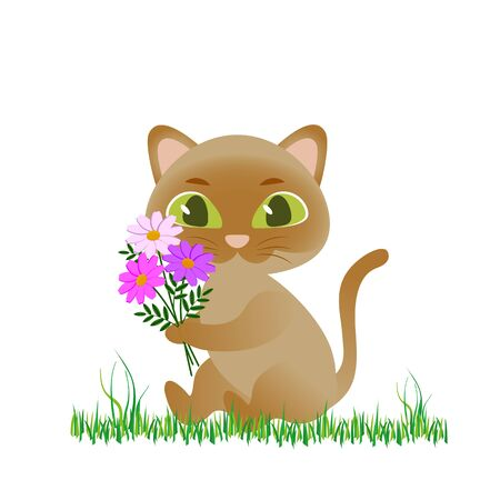 cute cat with beautiful flowers vector illustration