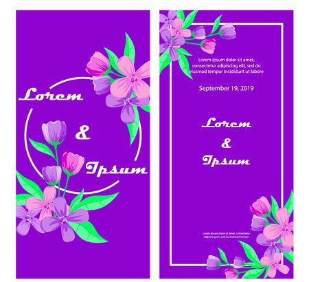 Wedding invitation, floral invitation, modern card, decorative wreath and frame. Vector elegant template Иллюстрация