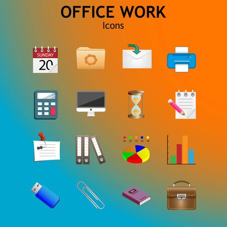 Web icons with long shadow on the theme of office and business. Vector set Иллюстрация