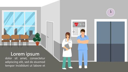 Landing page. Medical topics. Illustration of doctors in a modern clinic.