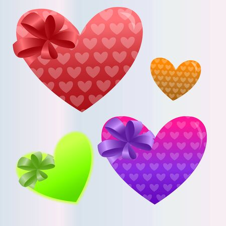 Set of multi-colored hearts. Vector illustration.