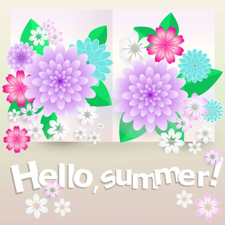 Colorful greeting card. Hello summer Multicolored abstract flowers on a paper spread. Иллюстрация