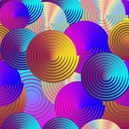 Seamless geometric pattern, multicolored spiral circles Иллюстрация