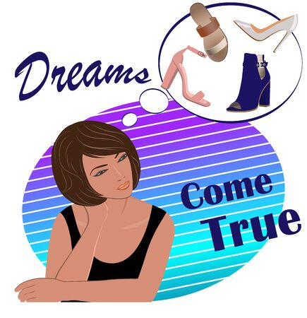 Promotional poster. Girls dream. Vector illustration with a set of beautiful womens shoes.